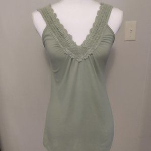 Sage color crochet v-neck tank top
